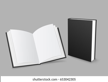 Standing closed and open black paper books with shadow on gray background. Empty cover template. Education literature symbol. Author writer show product