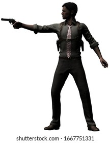 Standing Detective aiming with Gun 3-D-Illustration (White Background)