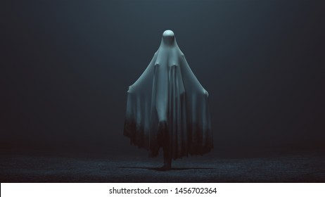 Standing Evil Spirit Ghost with one Knee Raised and Arms Out in a Death Shroud in a Foggy Void Front View 3d Illustration 3d Rendering