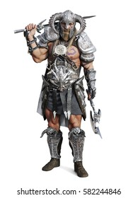 Standing fierce armored barbarian warrior posing on an isolated white background. 3d rendering illustration