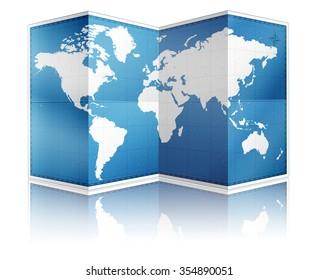 Standing folded world paper map with reflection on white