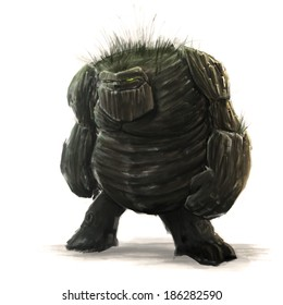 Standing forest golem concept art on white background