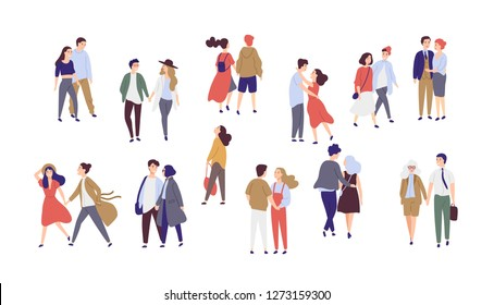 Standing lonely single girl surrounded by happy romantic couples walking together or pairs of men and women on date. Flat cartoon characters isolated on white background. Colorful illustration.