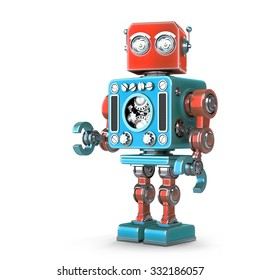 Standing Retro Robot. Isolated over white.