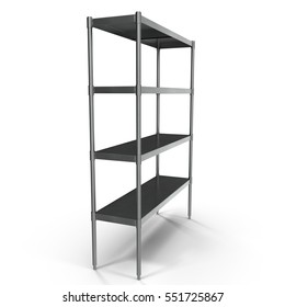 Standing Shelving Unit Stainless Steel on white. 3D illustration