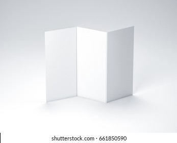 Standing White Leaflet Cover, Brochure Mockup, Sheet of paper, 3d rendering