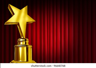 Star award on red curtains or velvet drapes with a spot light representing an achievement trophy prize on a theater stage during an awards ceremony to celebrate the winner of the golden shiny honor.