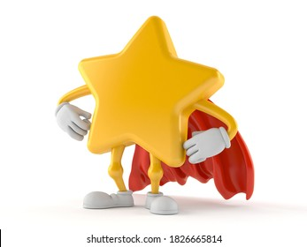 Star character with hero cape isolated on white background. 3d illustration