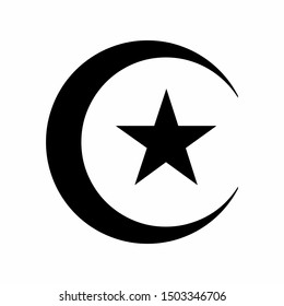 Star and crescent icon isolated on white background