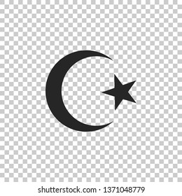 Star and crescent - symbol of Islam icon isolated on transparent background. Religion symbol. Flat design