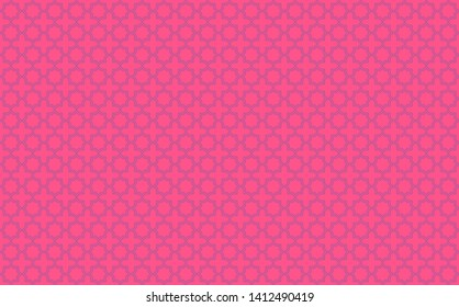 Star and cross tile-like design with blue accents on neon pink background inspired by Moroccan tile work known as zellige or mosaic, seamless pattern inspiration forming a symmetrical decor element