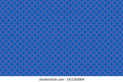 Star and cross tile-like design with pink accents on blue background inspired by Moroccan tile work known as zellige or mosaic, seamless pattern inspiration forming a symmetrical decor element