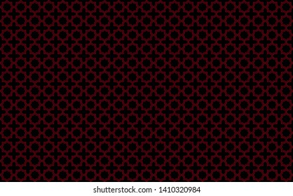 Star and cross tile-like design with red accents on black background, inspired by Moroccan tilework known as zellige or mosaic, seamless pattern inspiration forming pleasing symmetrical decor elements