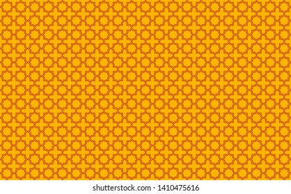 Star and cross tile-like design with red accents on yellow background inspired by Moroccan tile work known as zellige or mosaic, seamless pattern inspiration forming a symmetrical decor element