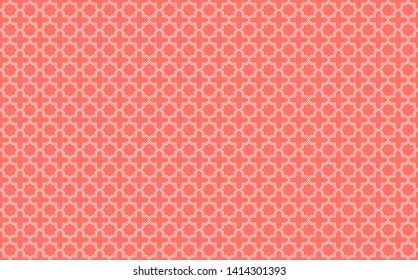 Star and cross tile-like design with white accents on coral pink background inspired by Moroccan tilework known as zellige or mosaic, seamless pattern inspiration forming a symmetrical decor element