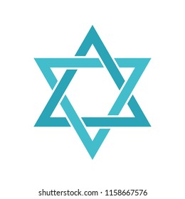 Star of David icon. Flat illustration of star of David icon for web isolated on white