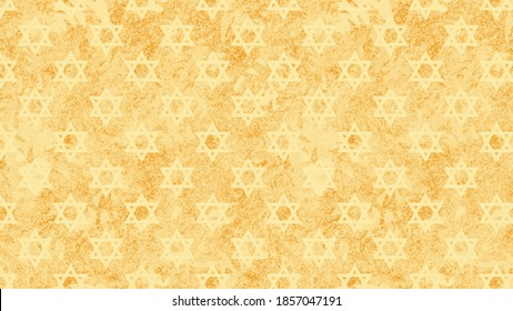 Star of David - the symbol of Judaism against a desert yellow background with a rough texture for Passover and Holocaust Remembrance Day. From slavery to freedom - to remember and not to forget