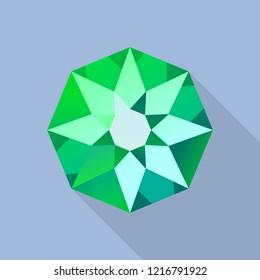 Star emerald icon. Flat illustration of star emerald icon for web design
