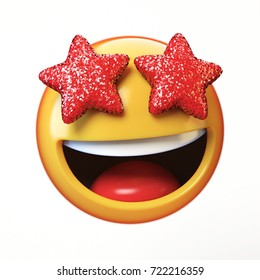 Star eyes emoji isolated on white background, glamorous emoticon 3d rendering