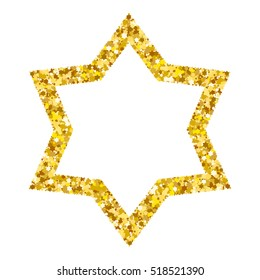 Star form with gold glitter effect. Traditional Jewish symbols. Jewish star isolated on white background.