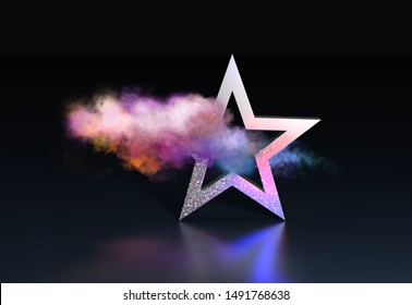 Star with holographic glitter and colorful cloud. 3D