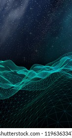 Star horizon. Abstract landscape on a dark background. Cyberspace grid. Hi-tech network. Outer space. Starry outer space texture. 3D illustration