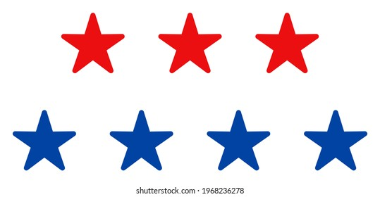 Star layers icon in blue and red colors with stars. Star layers illustration style uses American official colors of Democratic and Republican political parties, and star shapes.