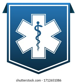 Star of Life medical emblem on blue tag ribbon banner icon isolated on white background.  EMS, First responder symbol. illustration