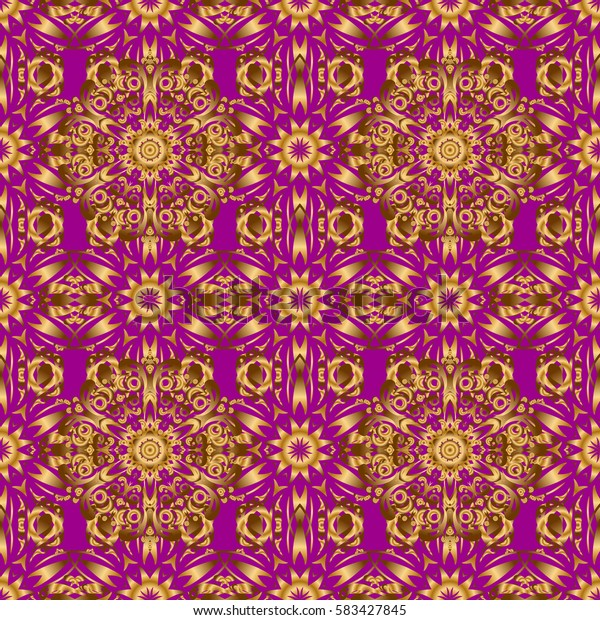 Star pattern on a purple backdrop, golden vintage ornament. Seamless background. Gold decorations. Luxury golden seamless pattern with stars.
