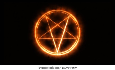 star pentagram medieval occult sign. mystic symbol of the Rituals and Black Magic in the style of burning with red heat and smoke.