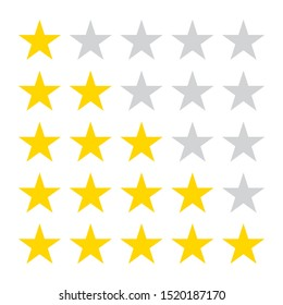 Star rating icons. 5 stars in the row for review.