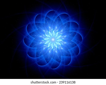 Star shaped glowing object, computer generated abstract background
