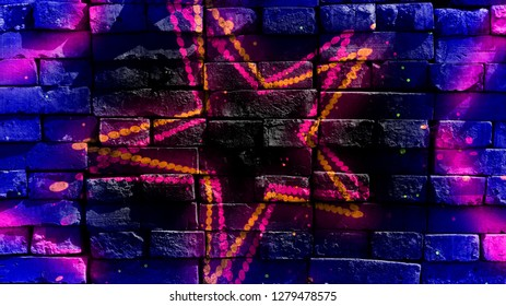 Star shapes on a colorful background. Virtual graffiti. Abstract image, drawn on a photo of a brick wall. Digital graphics by Igor Mishenev (artist-abstractionist).