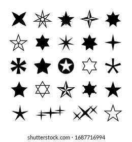 Star silhouettes. Rising christmas stars, abstract geometric cosmos starry symbols. Different reward, rating isolated magic xmas sparkle galaxy shapes