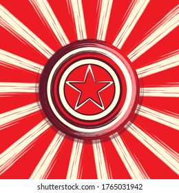 Star & Stripes 30i : Abstract Artwork consisting a circular Comic Star shield centered on Red Retro style Starburst backdrop with blurry border effect -Jpeg illustration