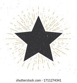 Star symbol vintage label, grunge textured retro badge, typography design illustration .