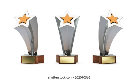 star trophy with a golden plate for custom text isolated on white