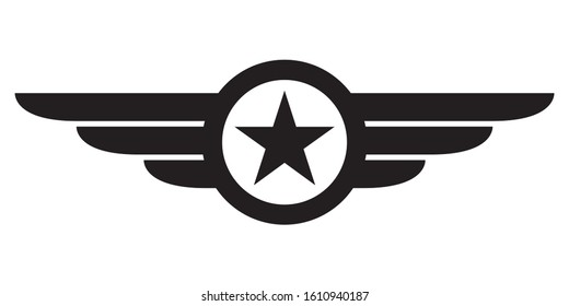 Star with wings logo. Military and Army winged badge. Aviation emblem.
