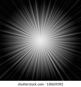 Starburst background, sunbeams going in all directions, black and white