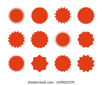 Starburst price stickers. Star sale banners, red explosion signs, sunburst speech bubbles.  set red silhouettes on white backgrounds