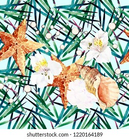 Starfish, shells and alstroemeria on exotic leaves. Watercolor tropical seamless pattern.