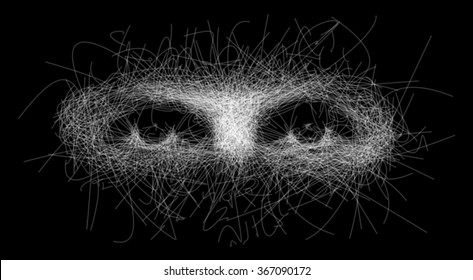 Staring intimidating eyes sketch from isolated white lines torn apart from face