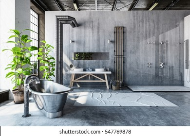 Stark gray bathroom interior of a converted industrial loft with a hipster metal roll top bathtub and large fresh green potted plants in front of tall windows, 3d rendering