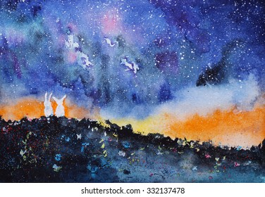 starry night landscape with two rabbits, hand-drawn watercolor illustration