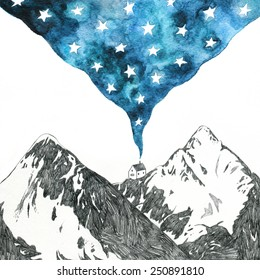 starry night - mountain landscape pencil and watercolor drawing