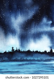 Starry night over a forest lake. Deep dark sky with stars. Watercolor landscape illustration background. hand-drawn