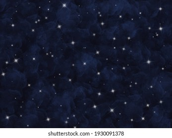 starry night sky background illustration. Digital painting