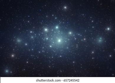 Starry night sky full of bright stars