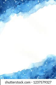 Starry night sky and text space watercolor hand painting background.