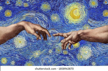 Starry Sky Creation of Adam. Concept illustration of old style renaissance reaching hands on impressionist digital brush work in the style of impressionist style paintings background.